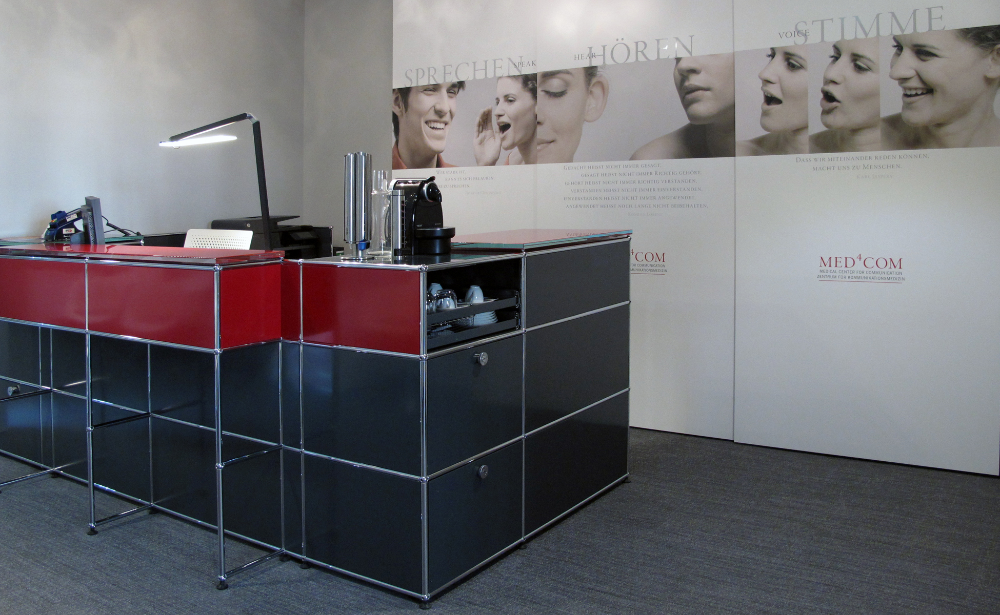 usmwartezimmer empfang usm haller theke rosso profil-22 nimbus roxxane bei steidten+ berlin