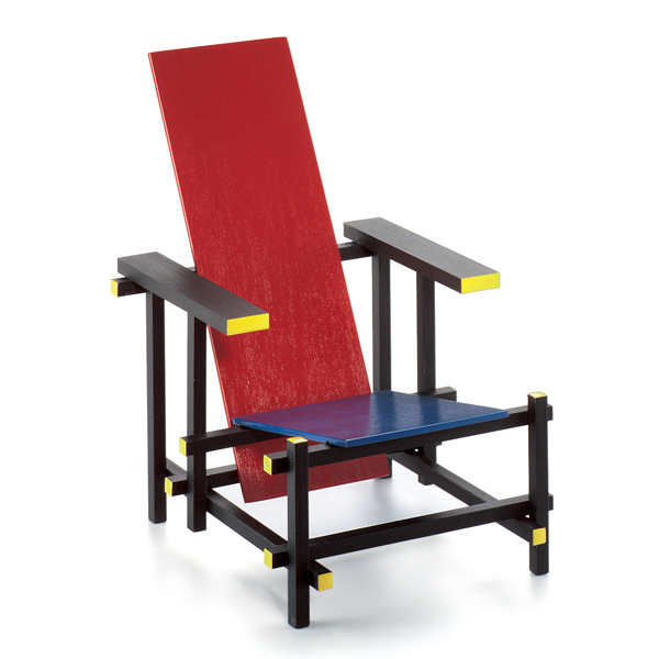 vitra miniatures collection rood blauwe stoel, 1918 gerrit rietveld