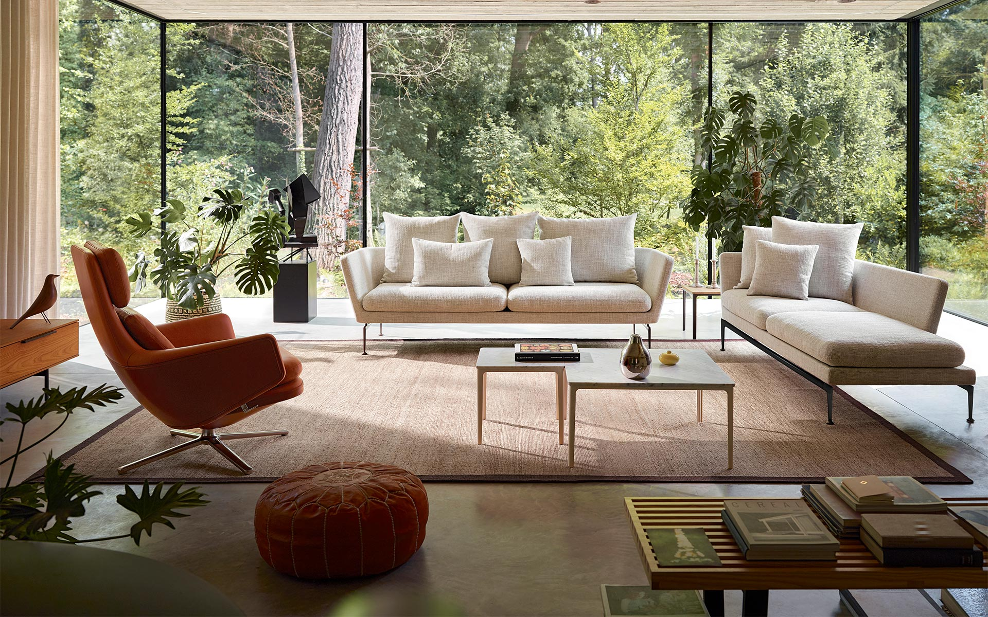 Vitra Grand Relax Suita 3 Seater Suita Chaise Longue Plate Table marble Grand Relax Nelson Bench